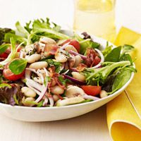 Bean & Cherry Tomato Spinach Salad: http://www.familycircle.com/recipe/bean-cherry-tomato-spinach-salad/