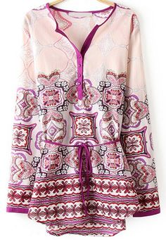 Pink V Neck Long Sleeve Floral Blouse 17.67