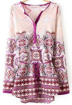 Pink V Neck Long Sleeve Floral Blouse 17.67