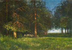 Karl Hofer - Waldlandschaft mit Schäfer und Schafen (1900)