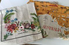2 Linen Tablecloths 1.3m Square Australia Map Australiana Wildflowers Souvenir in Home & Garden, Kitchen, Dining, Bar, Linen | eBay!
