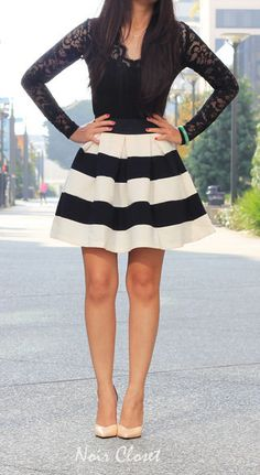 Stripe It Lucky Skirt in Black & White | Mod Retro Vintage Skirts | ModCloth.com 44.99