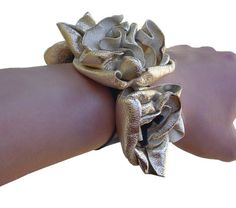 Wrist Corsage Leather Flower Bracelet Cuff Seafoam by ManoBello