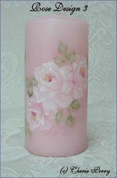 Shabby Chic Cottage Roses-Hand Painted Candles  $24.99  Available at www.bellarosadesigns.com