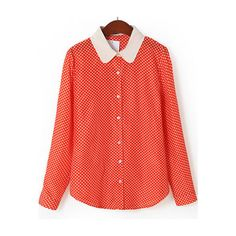 Red Contrast Collar Long Sleeve Polka Dot Blouse ($17) via Polyvore featuring tops, blouses, red long sleeve top, red polka dot top, long sleeve blouse, red blouse and red top