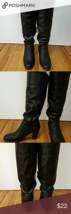 """Sporto Boots NWOT Sporto Style Jill Waterproof black knee high boots Faux leather Zipper from mid calf to arch Rubber sole  Chunky Heel 2 3/4"""" Sporto Shoes Heeled Boots"""