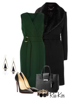 green dress by ria-kos on Polyvore featuring River Island, Christian Louboutin, Calvin Klein and Valentino