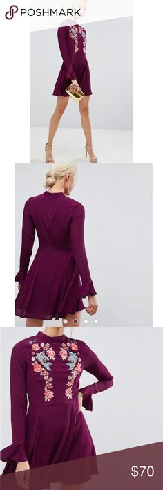 ASOS Embroidered Trumpet Mini Dress NWT ASOS Embroidered Trumpet Mini Dress Size 4 Color: Berry  PRODUCT DETAILS Mini dress by ASOS Collection Lined woven fabric High neck Floral embroidery Zip-back closure Fit-and-flare style Regular fit - true to size Machine wash 100% Viscose ASOS Dresses Mini