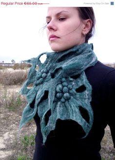 SALE Felt scarf Felted scarf Felted wool scarf Felt shawl Felted shawl Art to wear OOAK