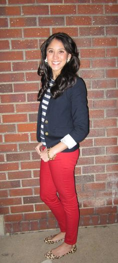 TGIF outfit, laid back red pants, leopard flats, stripe shirt and blue blazer!
