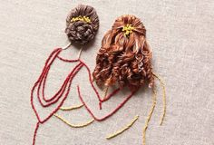 embroidery artist bernita broderi captures her subject before adding life-like three dimensional hair from flowing thread. Embroidery Floss Projects, Hand Embroidery Videos, Floral Embroidery Patterns, Embroidery Flowers Pattern, Embroidery Needles, Hand Embroidery Designs, Ribbon Embroidery, Simple Embroidery, Ribbon Art