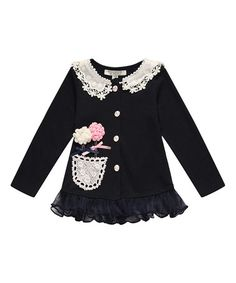 Another great find on #zulily! Navy Lace Flower Cardigan - Toddler & Girls #zulilyfinds