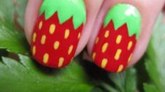 Pretty Strawberry Nail Art ~ With tutorial :)