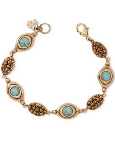Lucky Brand Gold-Tone Turquoise-Look Bead and Crystal Bracelet - Gold