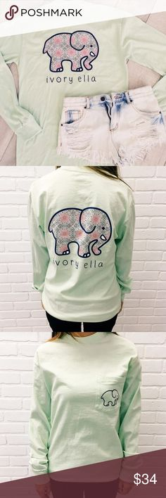 Ivory Ella Mint Long Sleeve Worn once but in perfect condition, brand is Ivory Ella, super adorable and comfortable, elephant print on the back with little logo on the front, NO trading, price is firm, size S  Ivory Ella Tops Tees - Long Sleeve