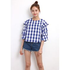d/s by Drive Store Ruffle Sleeve Plaids Top