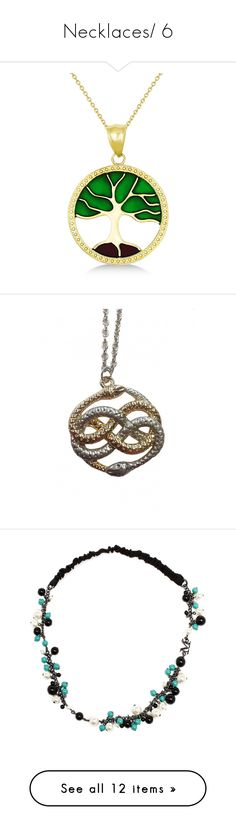"""Necklaces/ 6"" by thesassystewart on Polyvore featuring jewelry, pendants, 14 karat gold pendants, 14k pendant, 14k gold pendants, gold leaf pendant, green pendant necklace, necklaces, snake chain necklace and snake pendant necklace"