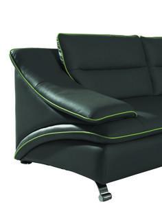 Divani Casa 5076C Black Bonded Leather Sectional Sofa - Stylish Design Furniture
