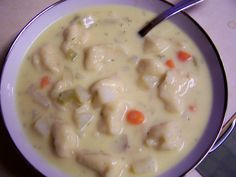 Diary of a Recipe Addict: Knoephla Soup, This is a different recipe than I make as it includes Cream of chicken soup, interesting...