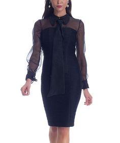 Look at this #zulilyfind! Black Sheer Sleeve Tie-Front Sheath Dress by NUE by Shani #zulilyfinds