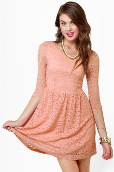Pretty Lace Dress - Dusty Peach Dress - Babydoll Dress - Skater Dress