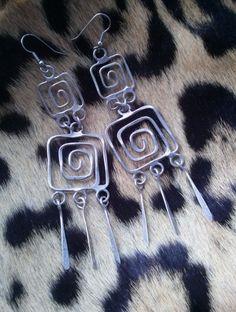 Vintage 1970s Earrings Dangling Modernist Jewelry Pierced 201601 - pinned by pin4etsy.com