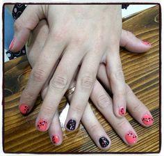 Nails desing Shellac black and coral