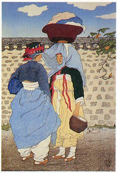 (Korea) A morning gossip, Hamheung province, 1921 by Elizabeth Keith (Scotland, woodblock print. Korean Traditional, Traditional Art, Traditional Outfits, Korean Art, Asian Art, Buddha Birthday, Illustrator, Korean Painting, Korean Design