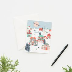 Share a season's greeting with our Folk Village Holiday Card. Made in the USA, this card features a whimsical, snow-covered village and Santa's sleigh printed on white paper with a blank interior. Holiday Gift Guide, Holiday Gifts, Holiday Cards, Christmas Cards, Waco Tx, Magnolia Market, Chip And Joanna Gaines, Christmas Holidays, Whimsical