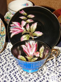 Black Floral Tea Cup And Saucer