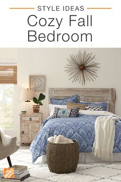 Transform your bedroom into a relaxing haven by embracing layers and texture. Plenty of cozy throw blankets and patterned pillows create a bed that's warm and inviting. Add stylish organization with a wicker basket for a touch of style and additional storage space. Click to shop this look.