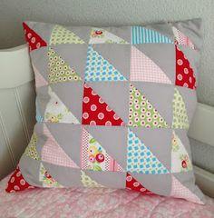 half-square triangle pillow