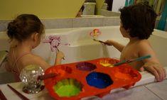 peinture pour le bain, facile à faire, amusant pour les enfants, faciliter l'heure du bain, colorant, ne tache pas MamanBricole
