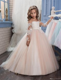 2017 Champagne Flower Girl Dress for Weddings Long Sleeves Ball Gown Puffy Lace Girl Party First Communion Dresses Pageant Gowns Girls Pageant Dresses, Gowns For Girls, Pageant Gowns, Ball Dresses, Ball Gowns, Tutu Dresses, Dresses For Children, Child Bridesmaid Dresses, Cheap Dresses