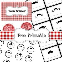 Picnic Birthday - moustache printables