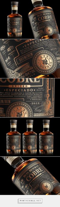 Cocktails , Rum, Wein, Whiskey Botran Cobre rum packaging design by Appartement 103 - Brand Design - Whisky, Whiskey Label, Whiskey Drinks, Rum Bottle, Liquor Bottles, Glass Bottle, Beer Packaging, Food Packaging Design, Bottle Labels