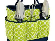This perky  gardening tote with tools  includes high-quality heavy gauge stainless tools with comfort grip handles and a spacious interior great for transporting garden supplies or snacks.