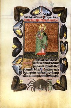 Mussels and a Crab from Hours of Catherine of Cleves, Master of Catherine of Cleves, about 1440. The Morgan Library and Museum