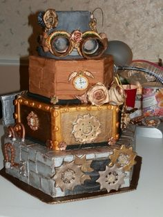 Steampunk cake that won first place in one of the 18 classes of the North Carolina State Fair decorated cakes contest in 2011. More pictures over at Cake Central.