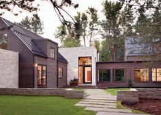 Folly Farm Entry- great mix of materials- standing-seam steel roof, limestone walls, cedar siding.