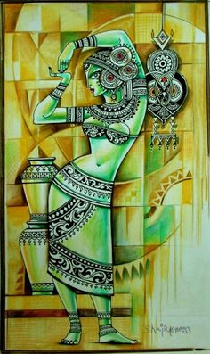 New painting woman face abstract ideas Dance Paintings, Indian Art Paintings, Modern Art Paintings, Mughal Paintings, Ganesha Painting, Buddha Painting, Worli Painting, Painting Abstract, Abstract Watercolor