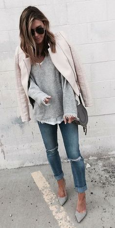 #winter #fashion /  Light Pink Leather Jacket + Ripped Skinny Jeans