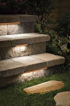 Bronze Hardscape Deck Step and Bench Light.Kichler Bronze Hardscape Deck Step and Bench Light. Kichler Bronze Hardscape Deck Step and Bench Light - Patio Steps, Outdoor Stone Steps, Stone Deck, Outdoor Stair Lighting, Backyard Lighting, Outdoor Decor, Outside Lighting Ideas, Outdoor Step Lights, Exterior Lighting