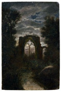 Carl Gustav Carus, The Ruins of Netley Abbey in the Moonlight 19th…