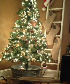 Tree In Galvanized Tub Antique Sled To Hold Presents And Ladder Burlap Stockings With Wood Letters For Names Add Sign Ladderthe