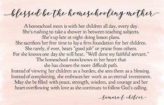 Blessed be the Homeschool Mom- prayer, blessing, encouragement