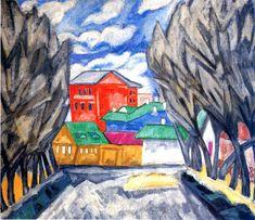 Ольга Розанова «Красный дом (Пейзаж)». 1910 г. Холст, масло. 85 х 98 см  Витебский Музей современного искусства, Белоруссия