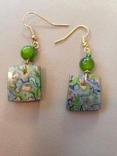 Gourd earrings Diy Earrings, Polymer Clay Earrings, Jewelry Crafts, Jewelry Art, Beaded Jewelry, Wooden Jewelry, Handmade Jewelry, Hand Painted Gourds, Ceramic Pendant