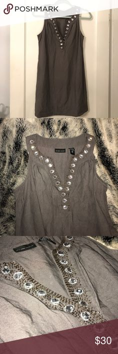 N E W   Y O R K   &   C O M P A N Y Gray Tunic/dress with a gorgeous beaded neckline | Excellent used condition, only flaw is one of the tiny beads is loose (see photo) New York & Company Dresses