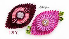 Овальный цветок канзаши / МК / DIY Kanzashi flower / Ribbon flower tutorial